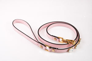 Dog Leash Jewel in Soft Leather - Light Pink