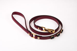 Dog Leash Jewel in Soft Leather - Wine