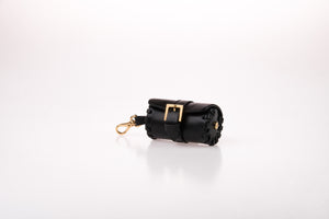 Dog Waste Bag Carrier in Soft Leather - Black