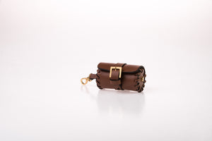 Dog Waste Bag Carrier in Soft Leather - Brown