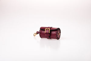 Dog Waste Bag Carrier in Soft Leather - Wine