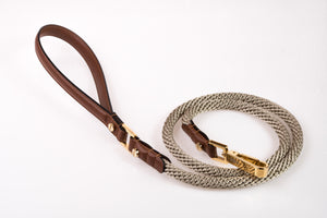 Dog Leash in Soft Leather and Rope - Brown