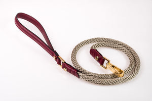 Dog Leash in Soft Leather and Rope - Wine