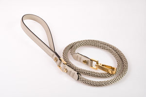Dog Leash in Soft Leather and Rope - Antique