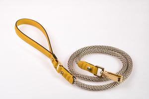 Dog Leash in Soft Leather and Rope - Sun