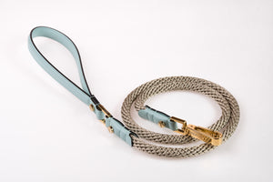Dog Leash in Soft Leather and Rope - Cloud