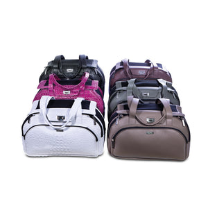 Group of coloured carrier dog bags in leather