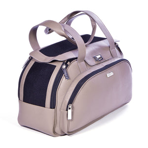 Carrier for dogs in beige leather
