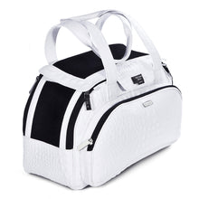 Load image into Gallery viewer, Dog carrier bag in white coloured leather