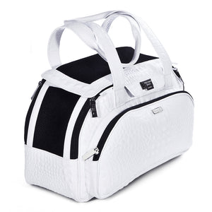 Dog carrier bag in white coloured leather