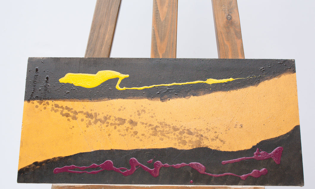 Abstract painting with gold, purple, black and yellow stripes