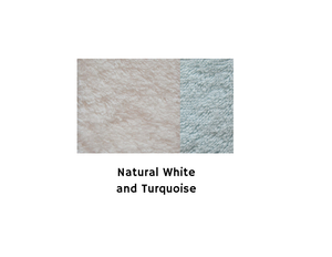 Cotton Bath Mat - Natural White&Turquoise