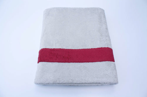 Grey and Red Cotton Beach Towel