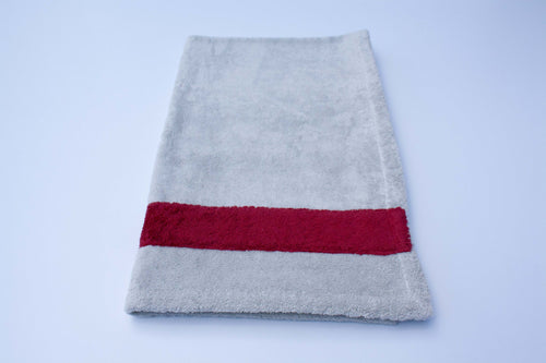 Grey and Bordeaux Cotton Bath Towel