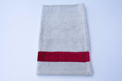 Grey and Bordeaux Cotton Bath Towel Medium Size