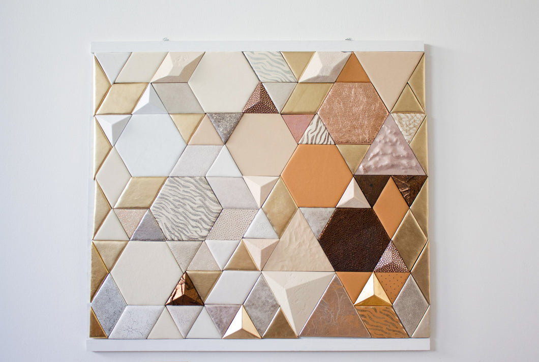 Leather Tile Panel gold bronze white