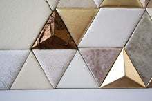 Load image into Gallery viewer, Leather Tile Panel gold bronze white