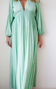 Long cotton dress in mint color