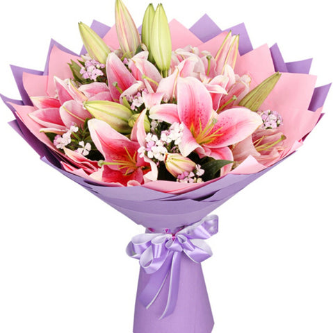 Bloom for love( 16 pink lilies-