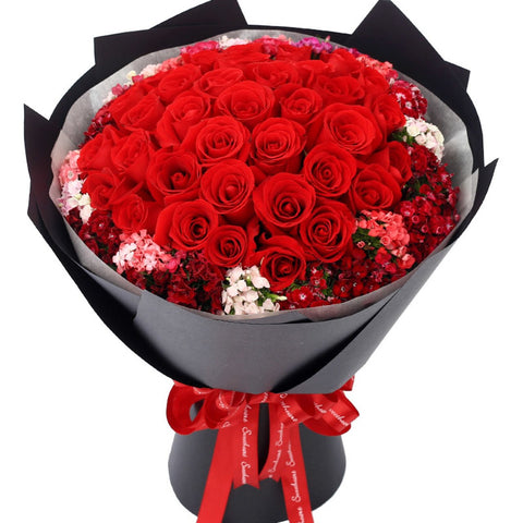 Love You More and More Every Day(33 high-quality red roses with righ)