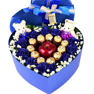My little apple( 11 blue roses, 11 Ferrero chocolates, 1 red apple, 2 cute bears)