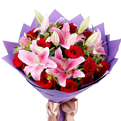 Love you deeply( 11 red roses with 3 long pink lilies)