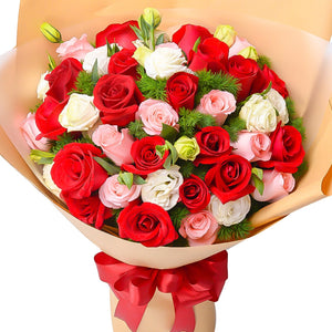 Miss you so much( 11 red roses, 11 Diana pink roses, 11 white roses)