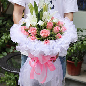 Sincere wishes( 19 Diana pink roses + 2 white lilies-