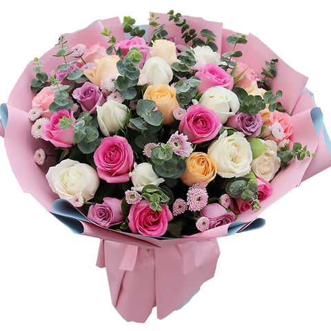 Colorful love( 7 pink roses-