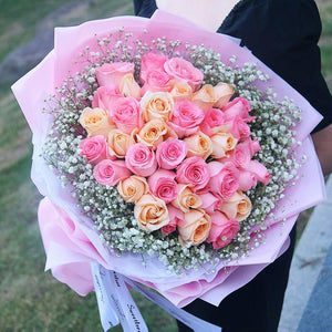 Dream heart(17 Diana pink roses)