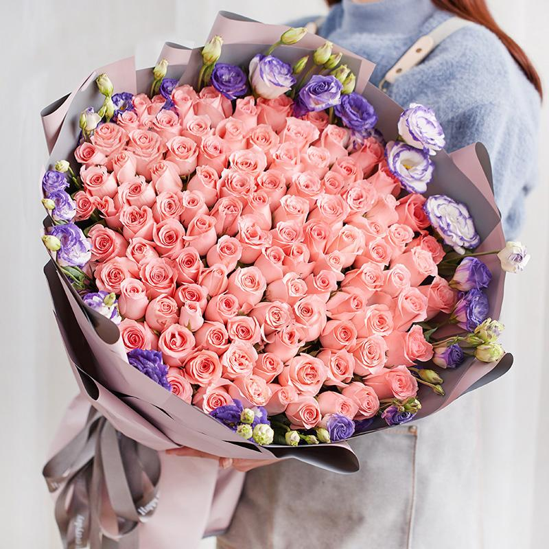 Love lasts forever(99 Diana roses with purple platycod)