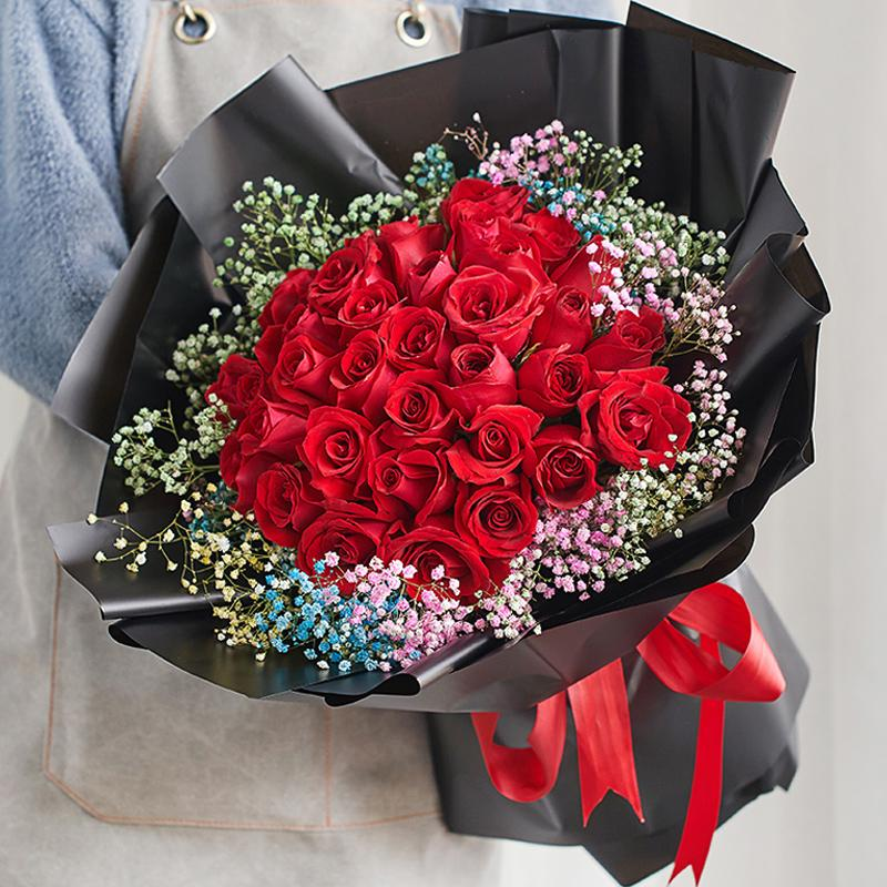 Sign happiness( 33 red roses-