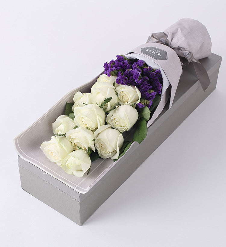 11 White Rose with Lavender Decoration to China