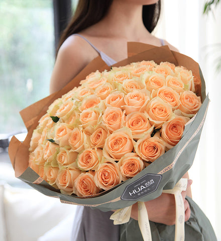 Champagne Rose x 66 Bouquet to China