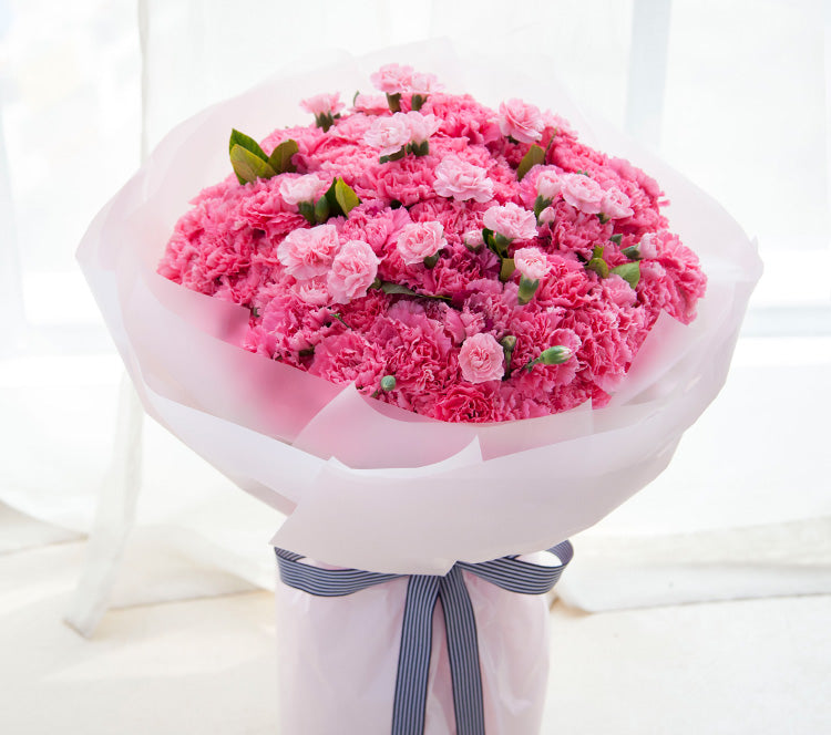 99 pink Carnations, 1 pink long Carnations to China