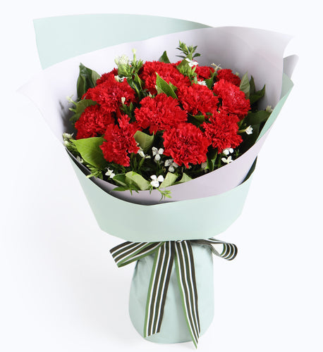 12 red carnations, 2 white acacia, 0.5 scorpion leaves to China