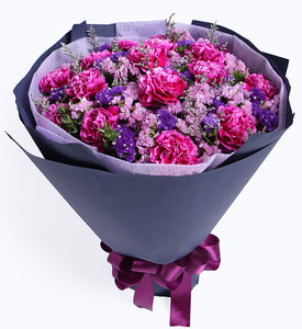 16 purple red carnations to China