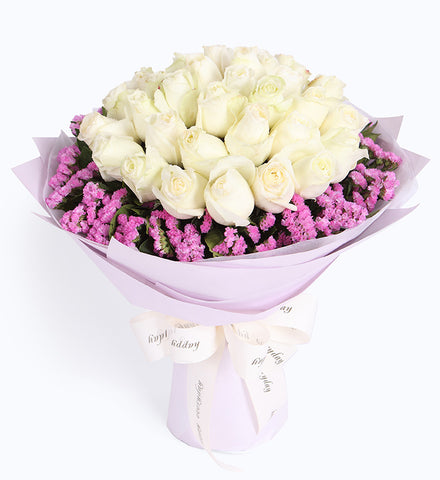 33 white roses, pink forget-me-not around to China