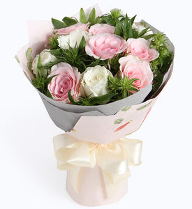 6 Pink lady pink rose and 6 white rose to China