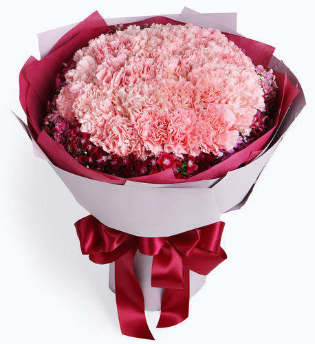 33 pink carnations to China