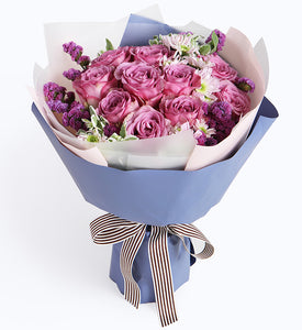 11 purple roses, 3 branches of light pink daisy to China