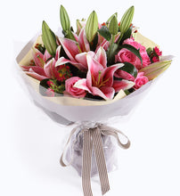 Load image into Gallery viewer, 4 Pink Perfume Lily, 9 Wake Powder Roses to China