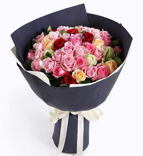 32 (Diana Pink Rose or Maria Pink Rose), 6 white roses, 6 champagne roses, 6 red roses to China