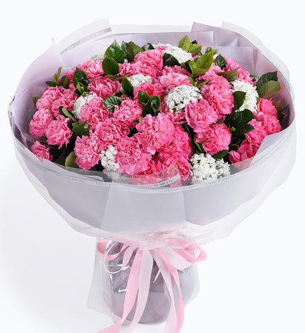 66 pink carnations to China
