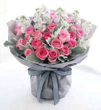 Load image into Gallery viewer, 33 wake up roses, violet, silver leaf to China