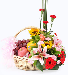 Fruit & Flowers Gift Basket to China