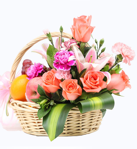 Fruit basket-1 perfume lily, 8 pink roses to China