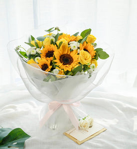 5 sunflowers, 6 golden scented roses to China
