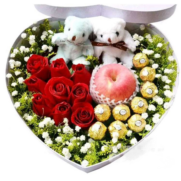 Christmas Gift Box (Rose+ Chocolate+Bears doll)