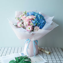 Load image into Gallery viewer, 1 maritime hydrangea, 3 pink ladies / Diana roses, 6 pink violets Flower to China